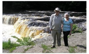 John and Eirlys at Aysgarth Falls