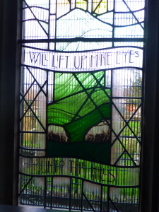 Stained Glass window on north wall of St Cynfach's Church