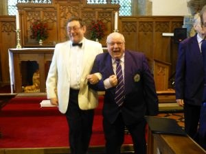Arwyn and Dafydd trip down the aisle after the wedding party!